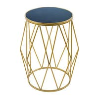 Bailey Modern Blue Marble Goldtone Side Table