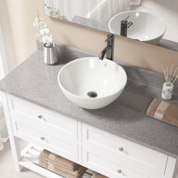 V2200 Bisque Porcelain Sink with Antique Bronze Faucet and Pop-up Drain