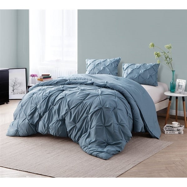 BYB - Smoke Blue Pin Tuck Comforter