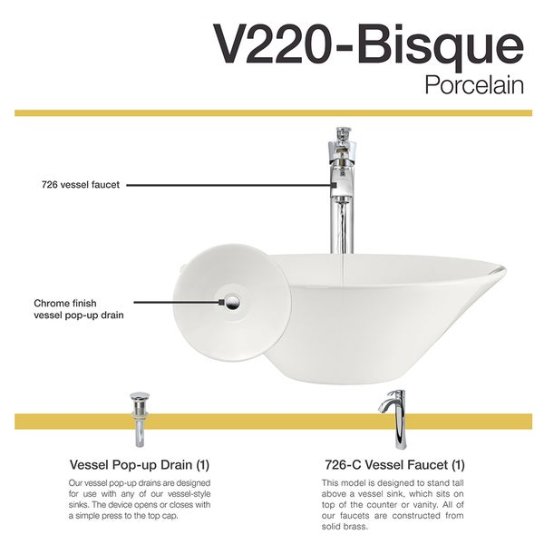 MR Direct V220 Bisque Porcelain Chrome Faucet And Pop Up Drain Sink   Free  Shipping Today   Overstock.com   21114370