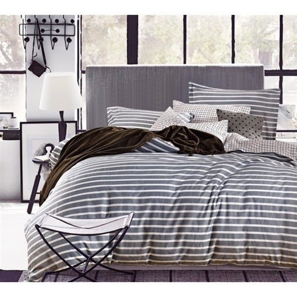 BYB Classic Grey Stripes Cotton Comforter (Shams Not Included)