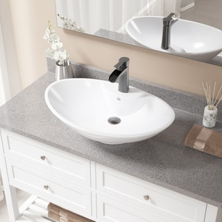 MR Direct V2102 White Porcelain and Antique Bronze Pop-up Drain Sink and Faucet Set