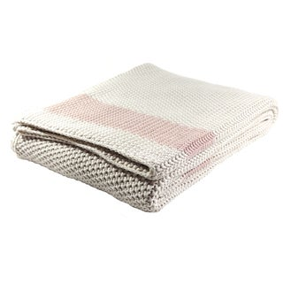 Marici Soft Cotton Throw Blanket by Pink Lemonade (Option: Light Pink/Grey Stripe)
