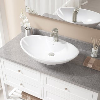 MR Direct V2102 Bisque Brushed NIckel Porcelain Sink with Faucet and Pop-up Drain
