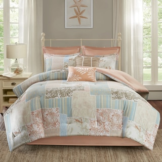 Madison Park Stone Harbor Coral Cotton Printed 8 Piece Comforter Set