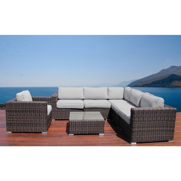 Camden 7 Piece Conversation Set All Weather Outdoor Furniture Patio Sofa  Set With Back Cushions