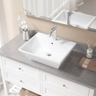 V160 White Porcelain Chrome Faucet and Pop-up Drain Sink