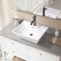 V160 White Porcelain Sink with Antique Bronze Faucet and Pop-Up Drain Set