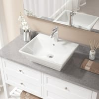 V160 Bisque Porcelain Sink With Chrome Faucet and Pop-up Drain