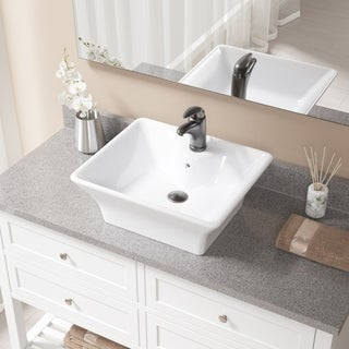 V150-White Porcelain Sink with Faucet and Pop-up Drain in Antique Bronze (5 options available)