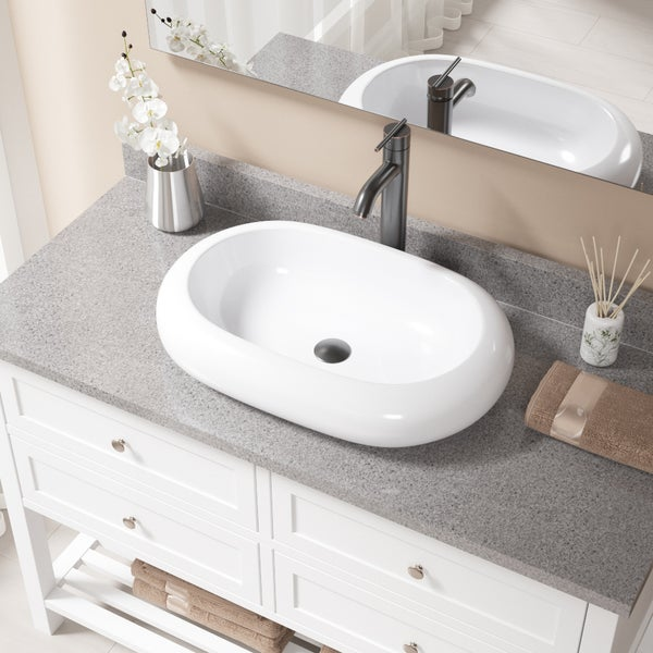 V1302 White Porcelain Sink with Antique Bronze Faucet and Pop-up Drain