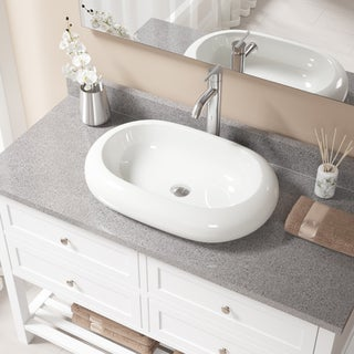 V1302 Bisque Porcelain Sink With Chrome Faucet and Pop-up Drain