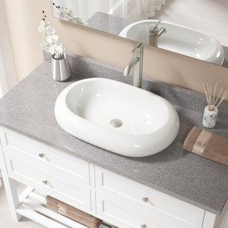 Bisque Porcelain Sink with Brushed Nickel Faucet and Pop-up Drain (4 options available)
