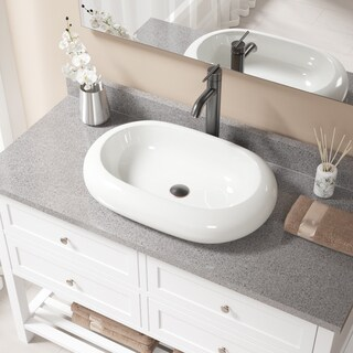 MR Direct V1302 Bisque Porcelain Sink with Antique Bronze Faucet and Pop-up Drain