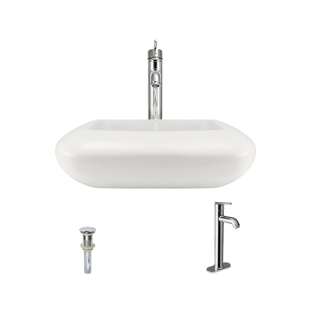 MR Direct V100 Bisque Porcelain Rounded Square Sink with ...
