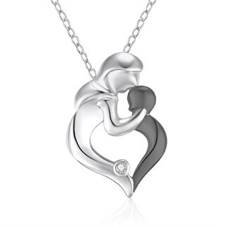 Sterling Silver Diamond Accent Mother and Baby Pendant Necklace
