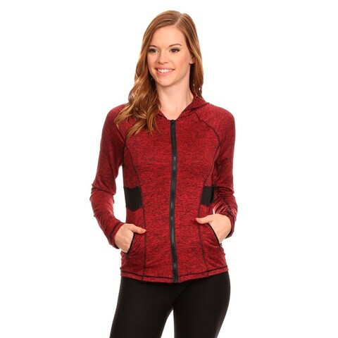 Women's Active Wear Red Spandex Zip-up Jacket with Hoodie