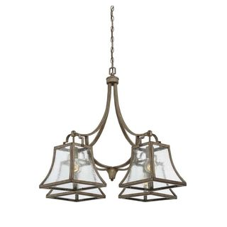 Belle 4-Light Chateau Linen Chandelier with Clear Seeded Glass