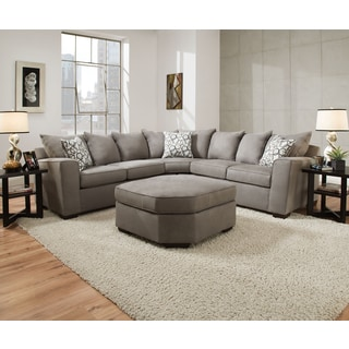 Simmons Upholstery Venture Smoke Sectional with Ottoman
