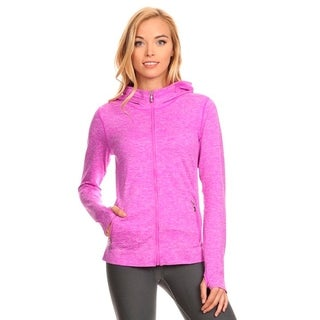 Pink Nylon-blend Full-zipper Seamless Activewear Jacket with Hood (3 options available)