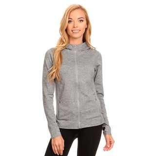 Seamless Active Living Grey Fleece Jacket with Hoodie