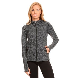 Seamless Active Living Grey Nylong and Spandex Fleece Jacket with Hoodie