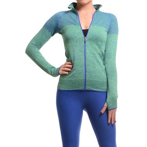 Women's Green Ultra Light Weight Seamless Active Living Running Jacket