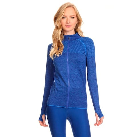 Women's Blue Ultra Lightweight Seamless Active Living Running Jacket