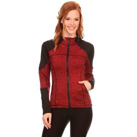Women's Red Active Wear Zip-up Jacket