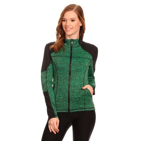 Women's Green Active Wear Zip Up Jacket