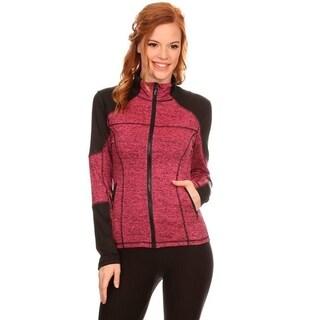 Women's Active Wear Pink and Black Colorblock Zip-up Jacket