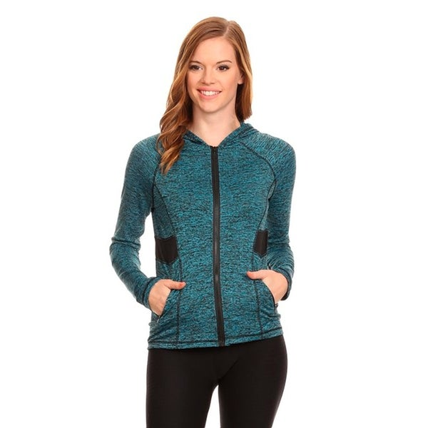 Women's Blue Fleece Active Wear Zip-up Hoodie Jacket