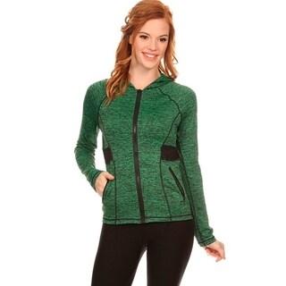 Women's Green Fleece Zip-up Activewear Hoodie Jacket