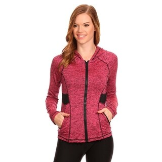Women's Active Wear Pink Polyester and Spandex Zip-up Jacket with Hoodie