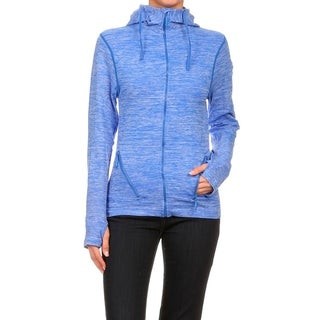 Women's Blue Seamless Performance Style Sports Jacket with Hoodie
