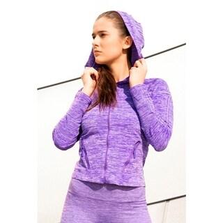 Women's Performance Style Purple Fleece Sports Jacket with Hoodie