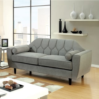 furniture of america ferine curved button tufted grey loveseat - Curved Loveseat