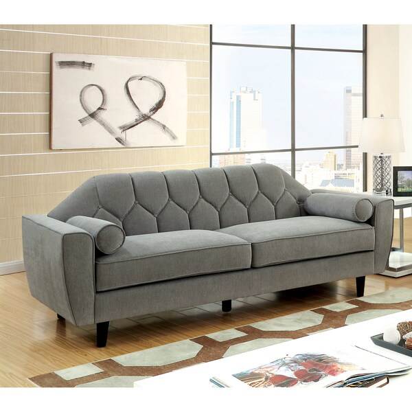 Shop Ferine Contemporary Grey Curved Button Tufted Sofa by FOA - On ...