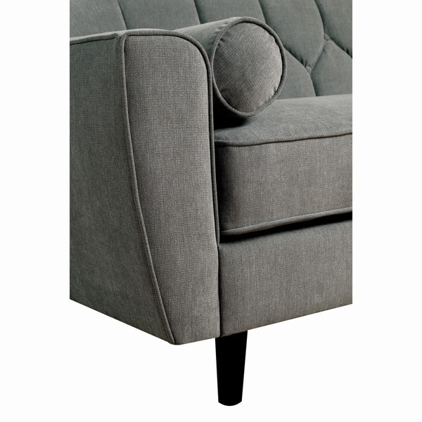 Superb Shop Ferine Contemporary Grey Curved Button Tufted Sofa By Caraccident5 Cool Chair Designs And Ideas Caraccident5Info