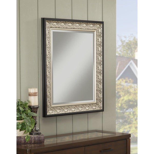 Sandberg Furniture Monaco 36 x 30-inch Wall Mirror - Black/Silver - A/N