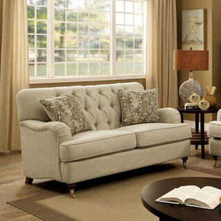 Furniture of America Claira Traditional Deep Button Tufted Beige Fabric Loveseat