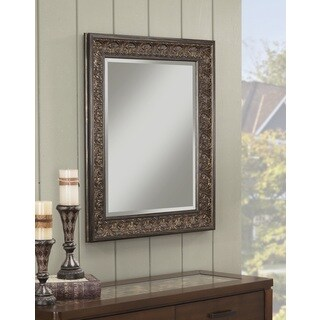 Sandberg Furniture Andorra 36-inch x 30-inch Wall Mirror - Brown/Dark Gold