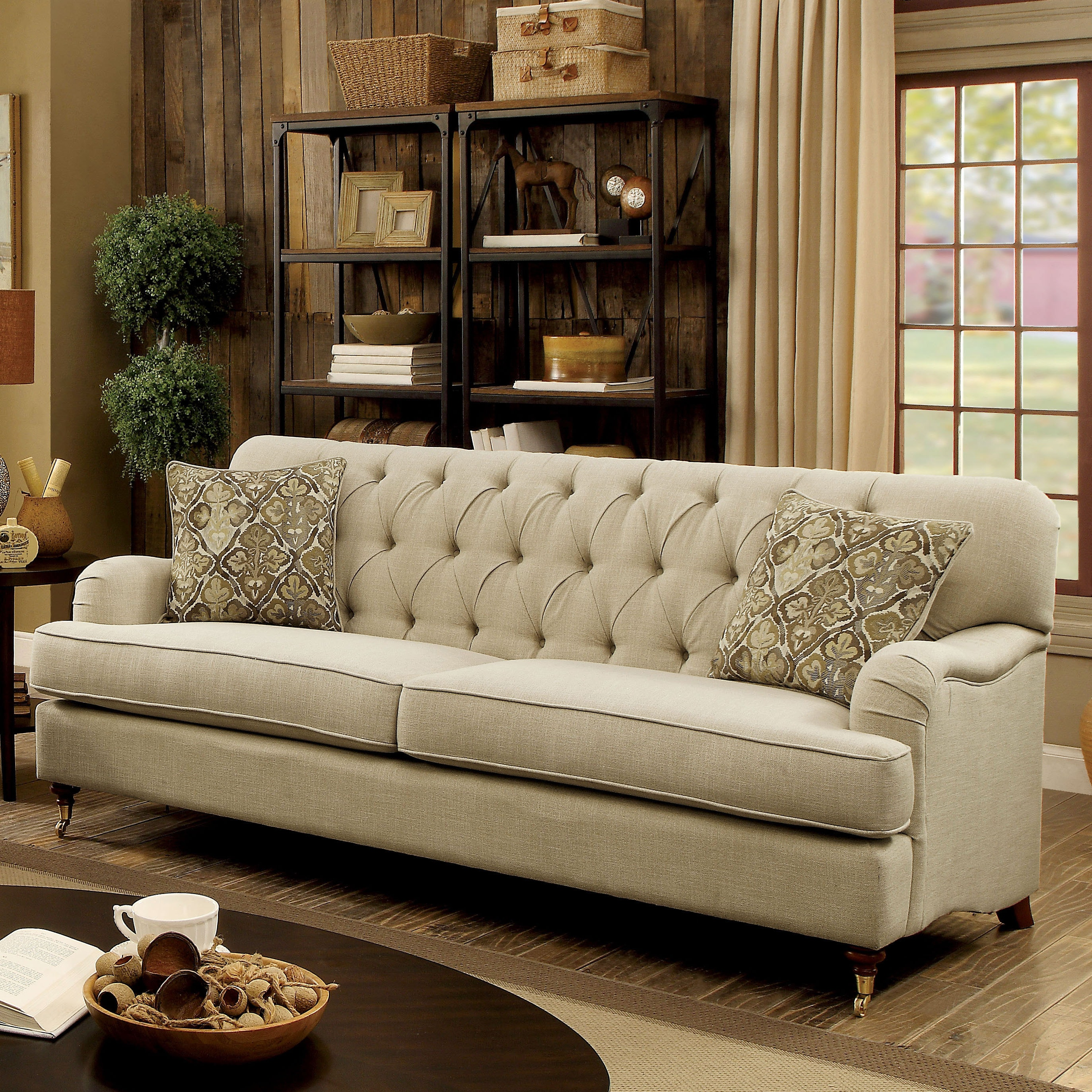 Furniture Of America Moor Traditional Beige Fabric Button Tufted Sofa