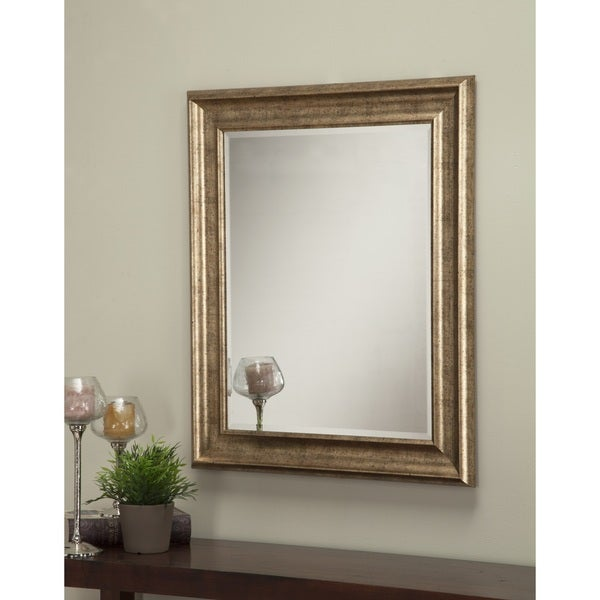 shop sandberg furniture antique gold 36 x 30 inch wall mirror