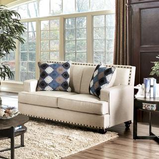 Furniture of America Diane Transitional Nailhead Beige Premium Fabric Loveseat