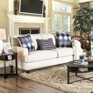 Furniture of America Diane Transitional Nailhead Beige Premium Fabric Sofa