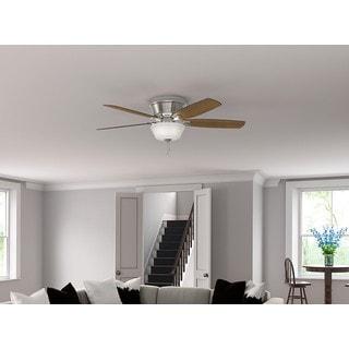 Hunter Fan Estate Winds Brushed-nickel 56-inch 5 Dark Walnut/Autumn Walnut Reversible Blades Ceiling Fan