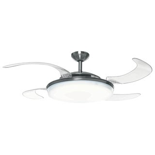 Hunter Fan Fanaway Brushed Chrome with 5 Clear Blades 48-inch Ceiling Fan with Integrated Light - Silver