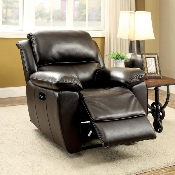 Shop Furniture Of America Clemin Top Grain Leather Match