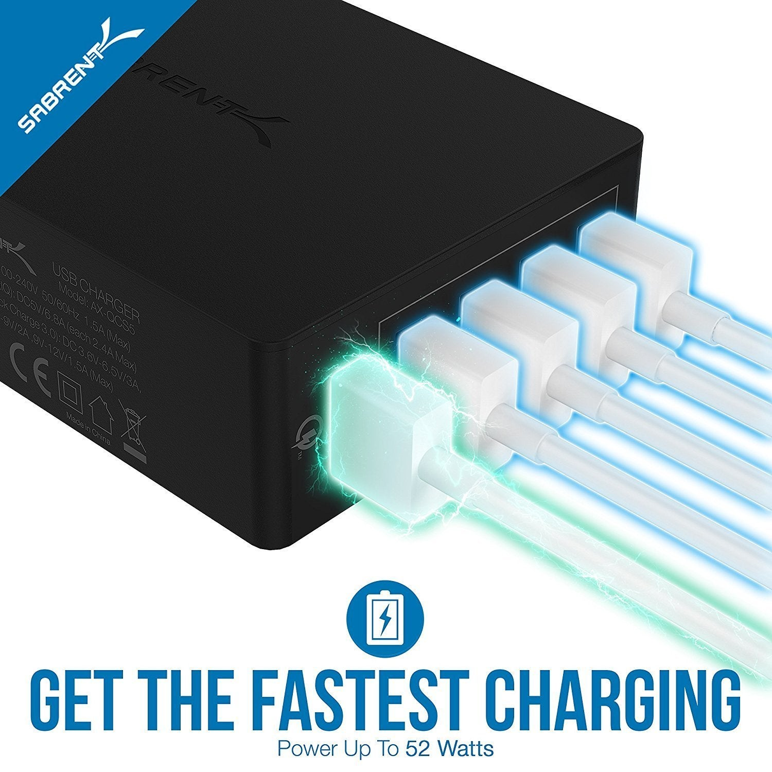 UL Certified AX-QCS5 54W 5-Port Family-Sized Desktop USB Rapid Charger Black Smart USB Charger with Auto Detect Technology Sabrent Quick Charge 3.0